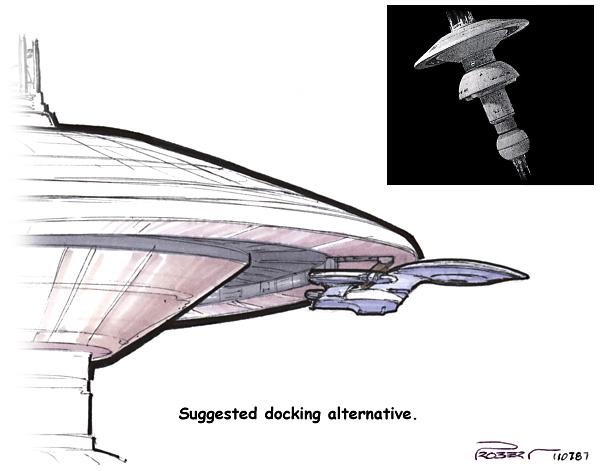 "During the first season, it was decided that we should go to space dock without considering that a Galaxy-class ship wouldn't fit in it.  I proposed an exterior docking boom but the producers nixed it saying that the station was now ""larger""."
